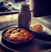 I would come to TAO only for this! Deepdish chocolate chip cookie with a scoop of ice cream and bottle of milk!